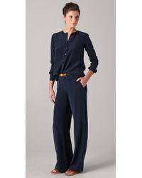 VINCE | Blue Wide Leg Silk Pj Pants | Lyst