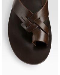 Dior Homme - Brown Leather Sandal for Men - Lyst