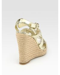 MICHAEL Michael Kors - Palm Beach Metallic Snake-print Leather Wedge Sandals - Lyst