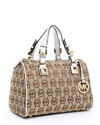 Michael Kors | Brown Medium Grayson Monogram Satchel, Beige/ebony/vanilla | Lyst
