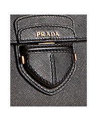 Prada   Black Saffiano Leather Convertible Tote   Lyst
