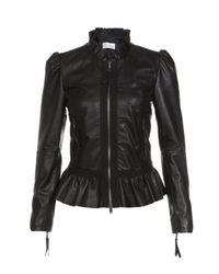 RED Valentino | Black Ruffled Leather Biker Jacket | Lyst