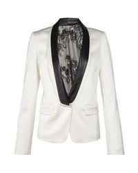 Tibi | White Leather Lapel Tuxedo Jacket | Lyst