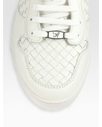 Bottega Veneta | White High-top Woven Lace-up Sneakers for Men | Lyst