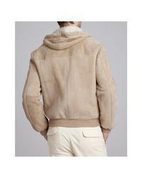 Brunello Cucinelli | Natural Ecru Suede Hooded Jacket for Men | Lyst