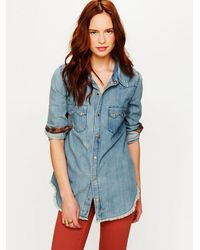 Free People | Blue True Grit Denim Top | Lyst