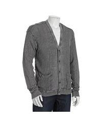 John Varvatos | Gray Metal Grey Linen Cable Knit Cardigan Sweater for Men | Lyst