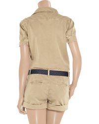 Paul & Joe | Natural Belted Cotton-twill Playsuit | Lyst