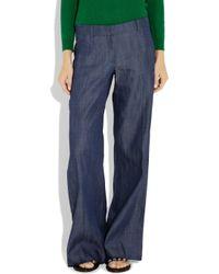 Tibi | Blue Low-rise Chambray Wide-leg Jeans | Lyst