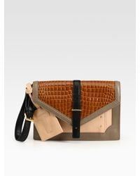 Tory Burch | Multicolor 797 Leather and Croc-Print Leather Clutch | Lyst