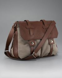 Brunello Cucinelli | Natural Leather-canvas Messenger Bag for Men | Lyst
