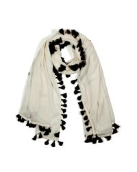 By Malene Birger - Natural Cream Scarf with Black Pompoms - Lyst