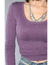 Free People - Purple The Cable Guy Cropped Pullover Sweater - Lyst