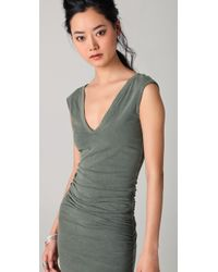 James Perse - Green Cap Sleeve Deep V Dress - Lyst