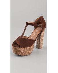 Jeffrey Campbell - Brown Babe T Strap Cork Platform Sandals - Lyst