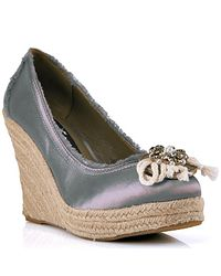 Juicy Couture | Gray Stone Satin Espadrille Wedge | Lyst