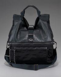 Lanvin | Gray Leather Microfiber Messenger Bag for Men | Lyst