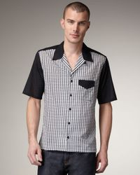 McQ | Black Houndstooth Bowling Shirt for Men | Lyst