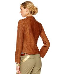 Michael Kors - Brown Quilted-shoulder Leather Jacket - Lyst