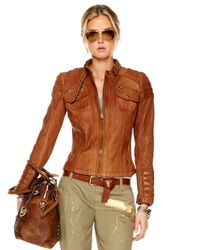 Michael Kors | Brown Quilted-shoulder Leather Jacket | Lyst