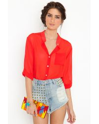 Nasty Gal | Red Poppy Blouse | Lyst