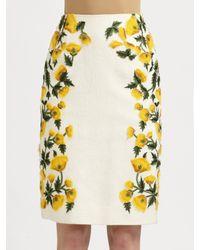 Oscar de la Renta | Yellow Cotton Flower Skirt | Lyst