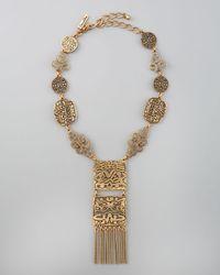Oscar de la Renta | Silver Scalloped Web Crystal Collar Necklace | Lyst