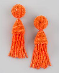 Oscar de la Renta - Orange Beaded Short Tassel Earrings - Lyst
