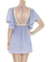 Tibi | Blue Meranda Beaded Seersucker-cotton Kaftan Dress | Lyst