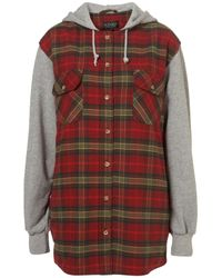 TOPSHOP | Red 90s Check Hooded Jacket | Lyst