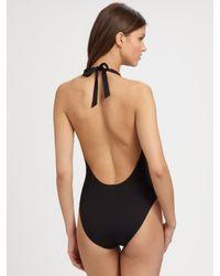 Tory Burch - Black One-piece Halter Swimsuit - Lyst
