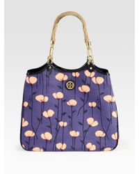 Tory Burch | Purple Channing Floral-print Canvas & Leather Tote | Lyst