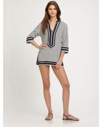 Tory Burch - Gray Striped Terry Tunic - Lyst