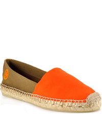 Tory Burch | Bi Color Slip On Espadrille - Orange Canvas Closed Espadrille | Lyst