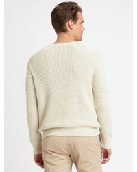 Vince - Natural Cashmere Thermal Ribbed Crewneck Sweater for Men - Lyst