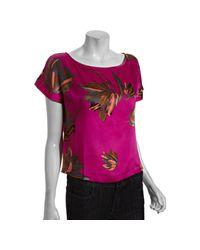 Halston | Pink Fuchsia Floral Silk Short Sleeve Blouse | Lyst