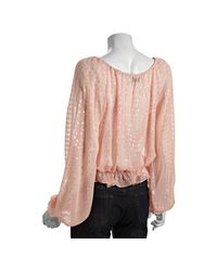 Halston | Pink Bisque Polka Dot Silk Chiffon Peasant Blouse | Lyst
