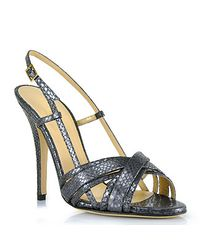 kate spade new york | Gray Lizard Slingback Open Toe Pump | Lyst