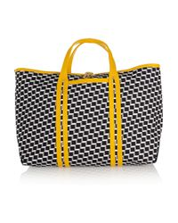 Pierre Hardy | Yellow Cube-print Leather-trimmed Coated-canvas Tote | Lyst