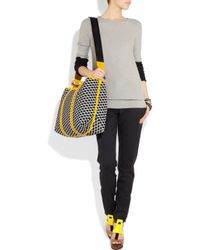 Pierre Hardy | Black Cube-print Leather-trimmed Coated-canvas Tote | Lyst