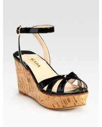 824eb8bcaf Prada Patent Leather and Cork Ankle Strap Wedge Sandals in Natural ...