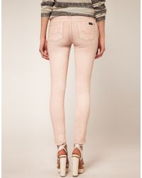 7 For All Mankind - Pink The Skinny Pastel Wash Jean - Lyst