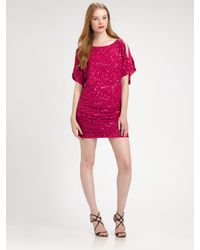 Aidan Mattox | Red Cold Shoulder Sequin Dress | Lyst
