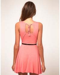 ASOS Collection - Pink Asos Petite Exclusive Skater Dress with Belt - Lyst