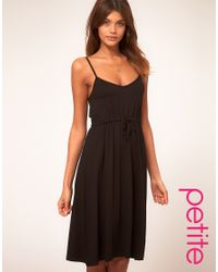 ASOS Collection | Black Asos Petite Midi Summer Dress with Tie Waist | Lyst