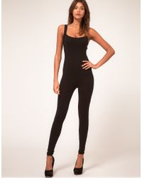 ASOS Collection - Black Asos Petite Unitard with Rave Slash Back Detail - Lyst