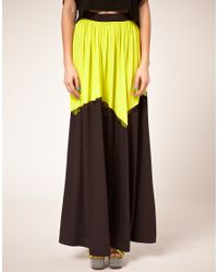 ASOS Collection - Black Asos Maxi Skirt in Colour Block - Lyst