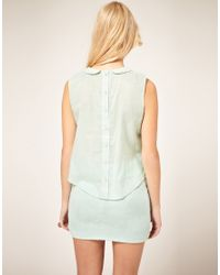 ASOS Collection - Green Asos Petite Lace Blouse with Double Collar - Lyst