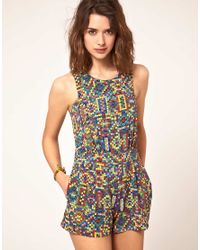 ASOS Collection | Multicolor Asos Mex Tex Print Strappy Playsuit | Lyst