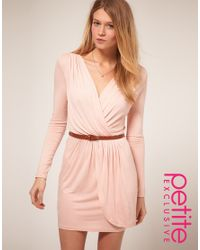 ASOS Collection - Pink Asos Petite Exclusive Long Sleeve Belted Wrap Front Dress - Lyst